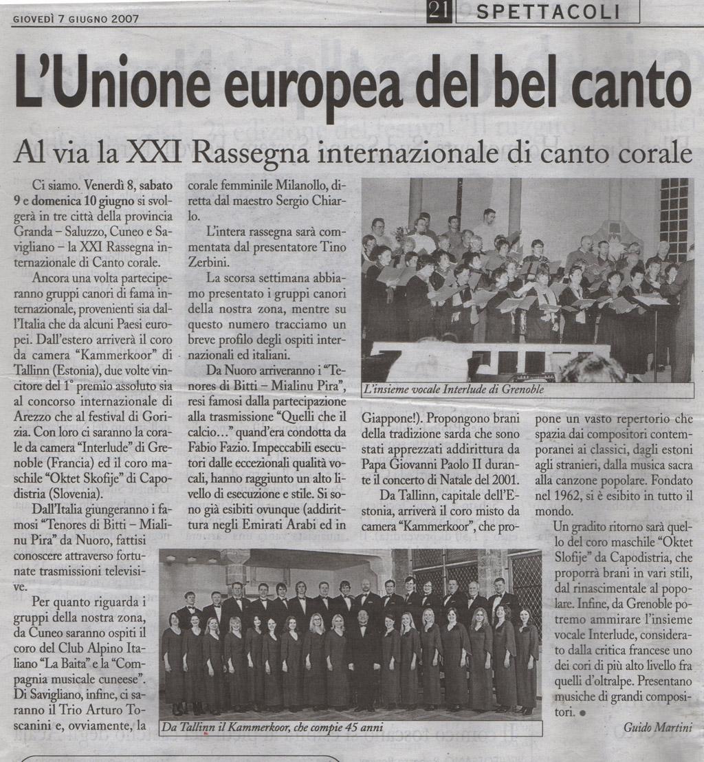 Tenores di bitti al xxi festival corale di savigliano for Rassegna camera